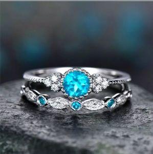 🆕 Beautiful Pale Blue CZ Rhinestones Ring 💍